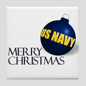 Merry US Navy Christmas Tile Coaster