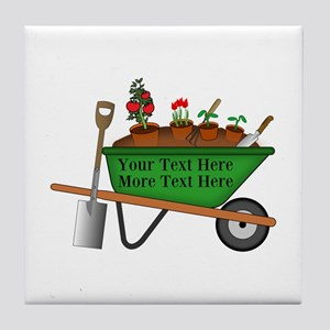 Personalized Green Wheelbarrow Tile Coaster