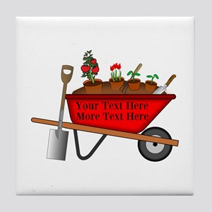 Personalized Red Wheelbarrow Tile Coaster