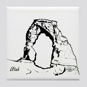 Delicate Arch BW Tile Coaster