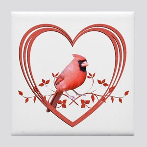 Cardinal in Heart Tile Coaster