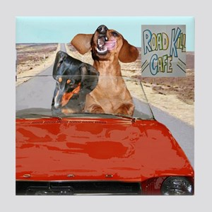 Roadkill Cafe Vacation Doxies Tile Coaster