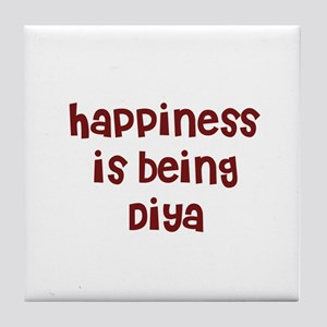 happiness is being Diya Tile Coaster