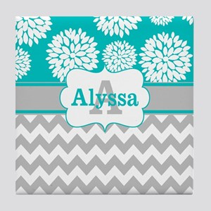Gray Teal Chevron Blooms Personalized Tile Coaster