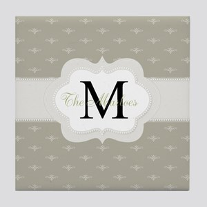 Elegant Monogram Design Tile Coaster
