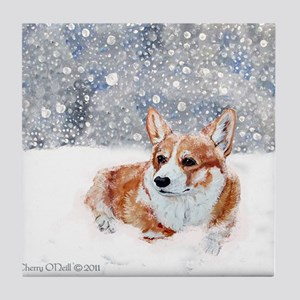 Corgi Winter Snow Tile Coaster