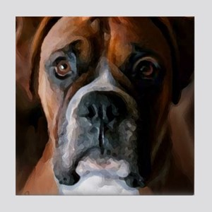 Adoring Boxer Dog Tile Coaster