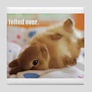 Cute bunny fell over Tile Coaster