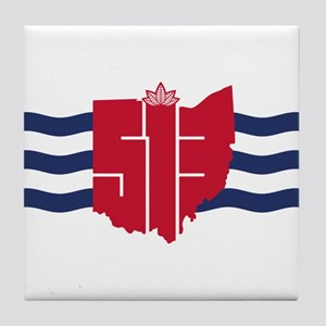 513 Cincinnati Flag Hometown Art Tile Coaster