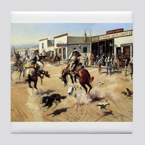 cowboy art Tile Coaster