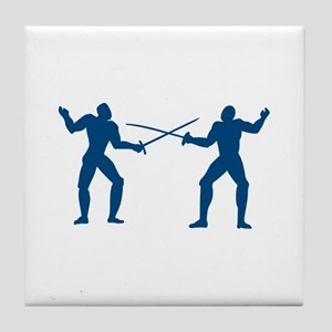 Men Fencing Tile Coaster