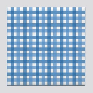 Blue Picnic Cloth Pattern Tile Coaster