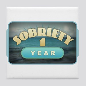 Sober 1 Year - Alcoholics Tile Coaster