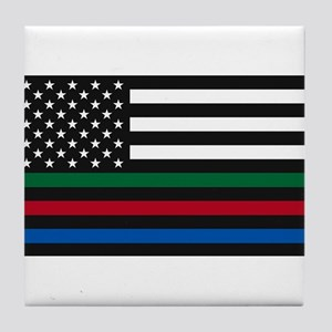 Thin Blue Line Decal - USA Flag - Red Tile Coaster