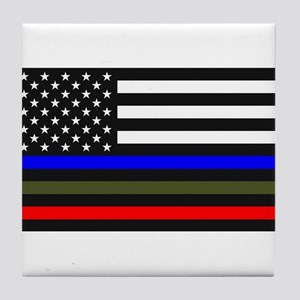 Thin Blue Line Decal - USA Flag Red, Tile Coaster