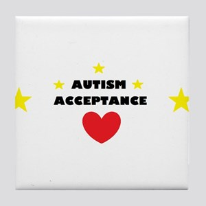 Autism acceptance with 4 stars Tile Coaster