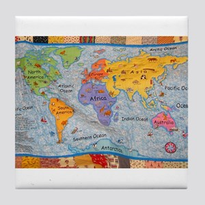 WORLD MAP QUILT Tile Coaster