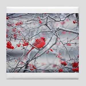 Red Bird & Berries Tile Coaster