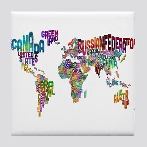 Text Map of the World Tile Coaster