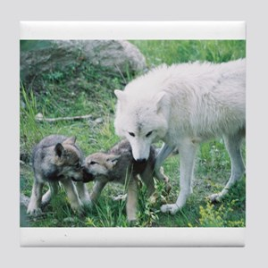 """Mother Wolf With Two Cubs"" Tile Coaster"