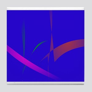 Simple Blue Abstract with Slashing Colors Tile Coa
