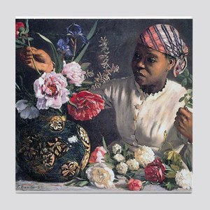 African Women with Peonie Tile Coaster