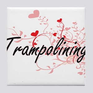 Trampolining Artistic Design with Hea Tile Coaster