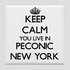 Keep calm you live in Peconic New Yor Tile Coaster