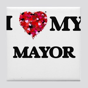 I love my Mayor hearts design Tile Coaster
