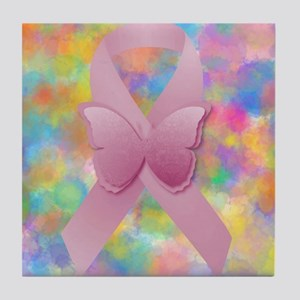 Pink Awareness Ribbon Tile Coaster