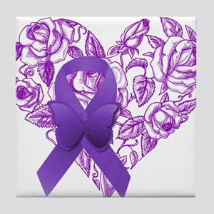 Purple Awareness Ribbon with Roses Tile Coaster