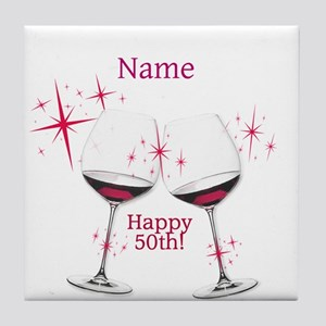 Custom 50th Birthday Tile Coaster