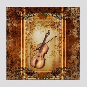 Wonderful violin on a frame Tile Coaster