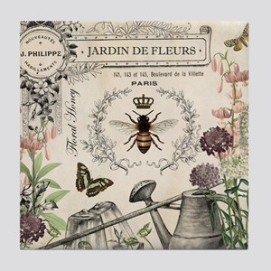 Modern Vintage French Bee Garden Tile Coaster