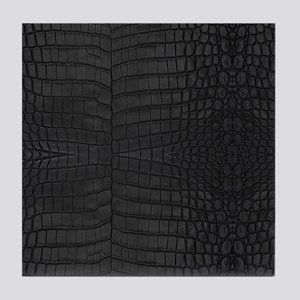 Black Crocodile Leather Pattern Tile Coaster