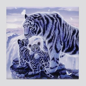 White Tigress And Her Cubs Tile Coaster