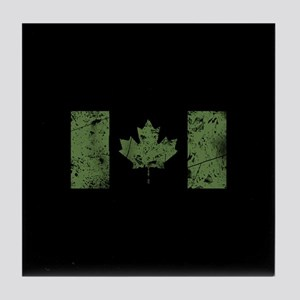 Canadian Distressed Flag (Green) Tile Coaster