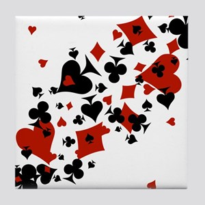 Scattered Card Suits Tile Coaster