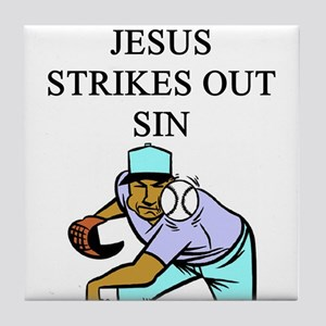 jesus strike out sin gifts apparel Tile Coaster
