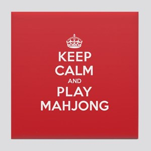 Keep Calm Play Mahjong Tile Coaster