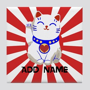 cute personalized lucky Japanese cat Tile Coaster