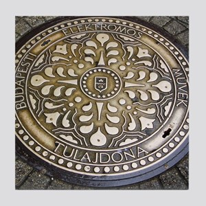 manhole covers, budapest, Tile Coaster