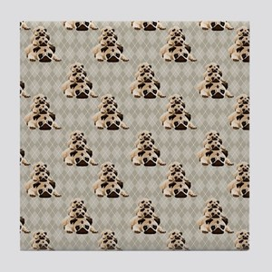 Pugs on Tan Argyle Tile Coaster