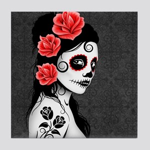 Day of the Dead Girl Gray Tile Coaster