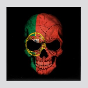 Portuguese Flag Skull on Black Tile Coaster