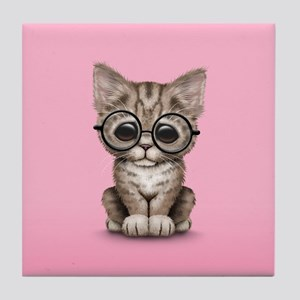 Cute Tabby Kitten with Eye Glasses on Pink Tile Co