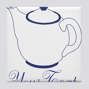 Personalizable Blue Tea Pot Tile Coaster