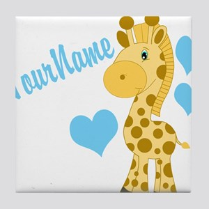 Personalizable Blue Baby Giraffe Tile Coaster