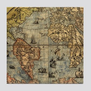 World Map Vintage Atlas Historical Tile Coaster