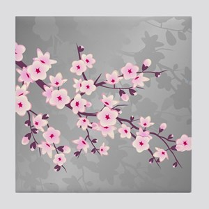 Cherry Blossoms Pink Gray Shimmering Tile Coaster